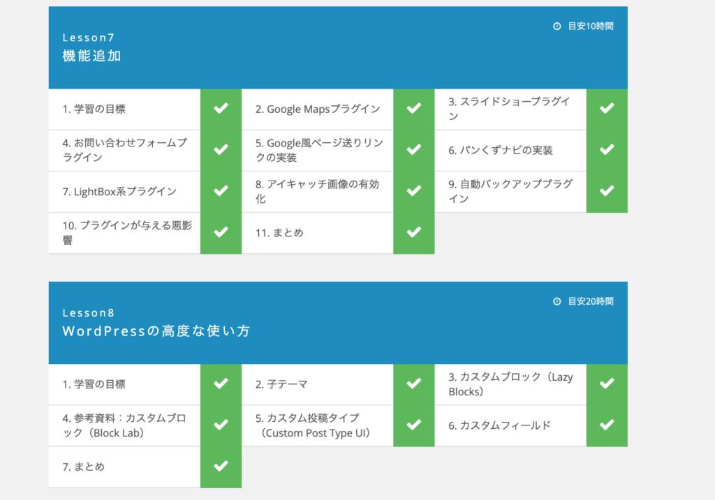 Wordpressコースの詳細なカリキュラム内容